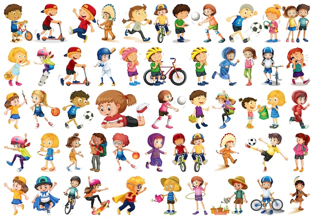 Jeu de caractères d'enfants Vecteur gratuit