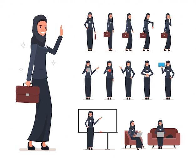 Jeu de caractères de femme arabe avec hijab. Vecteur Premium