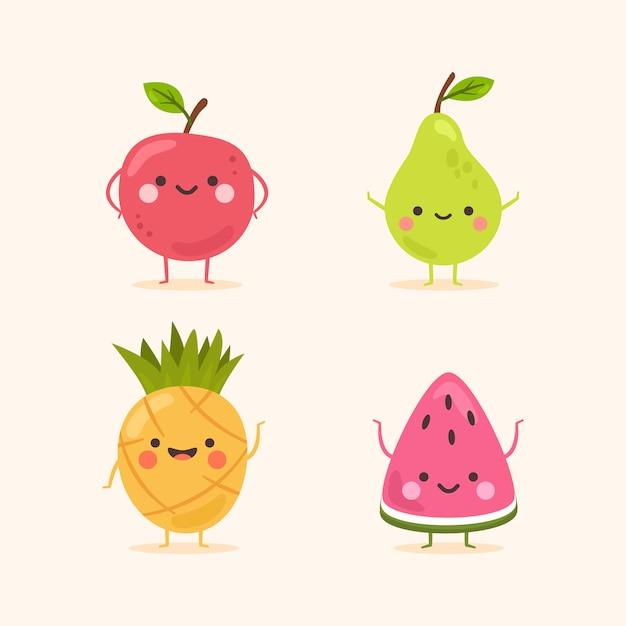 Jeu De Caractères De Fruits Souriant Mignon Vecteur Premium