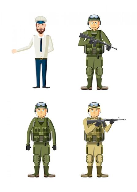 Jeu de caractères d'homme d'armée. jeu de dessin animé d'un homme de l'armée Vecteur Premium