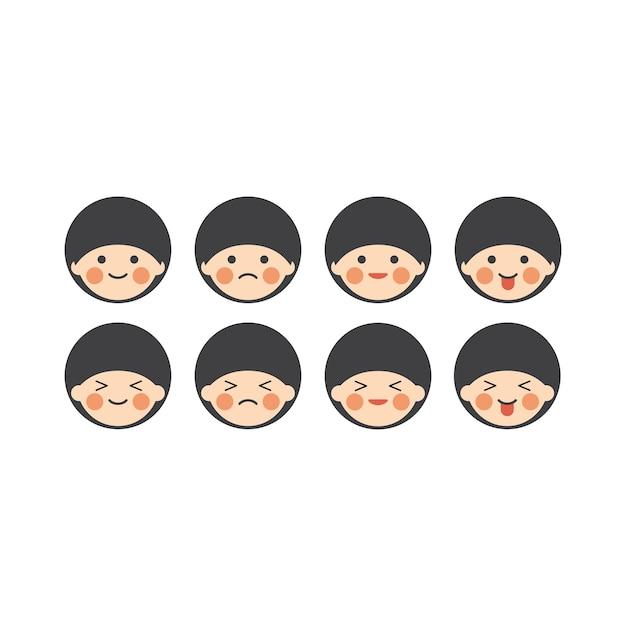 Jeu De Caracteres Japonais Emoji Chibi Vecteur Premium