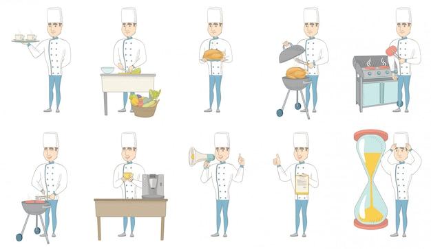Jeu De Caractères Jeune Chef Caucasien Vecteur Premium
