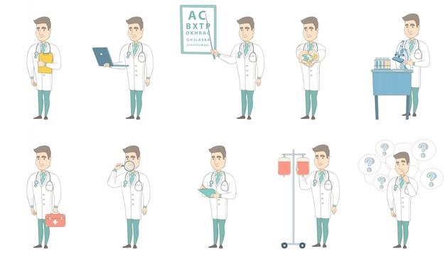 Jeu de caractères jeune médecin caucasien Vecteur Premium
