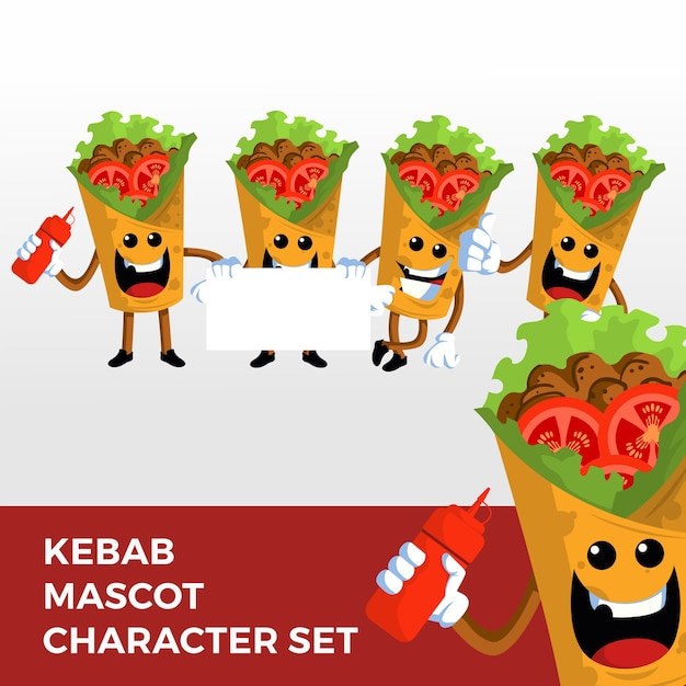 Jeu De Caractères De Mascotte Kebab Vecteur Premium