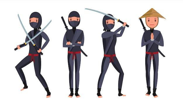 Jeu de caractères ninja classique Vecteur Premium