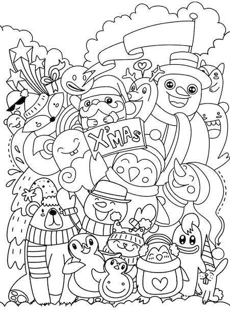 Jeu de caractères de noël dessinés à la main doodle Vecteur Premium