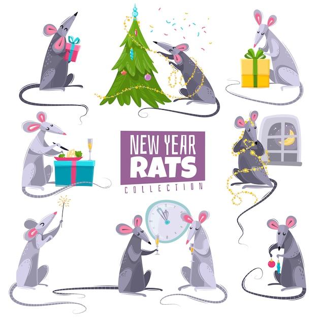 Jeu De Caractères Nouvel An Symbole Animal Rat Vecteur Premium