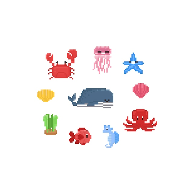 Jeu de caractères pixel cartoon sea animals.8bit. Vecteur Premium