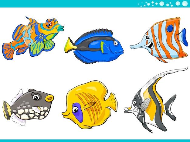 Jeu de caractères poisson vie mer Vecteur Premium