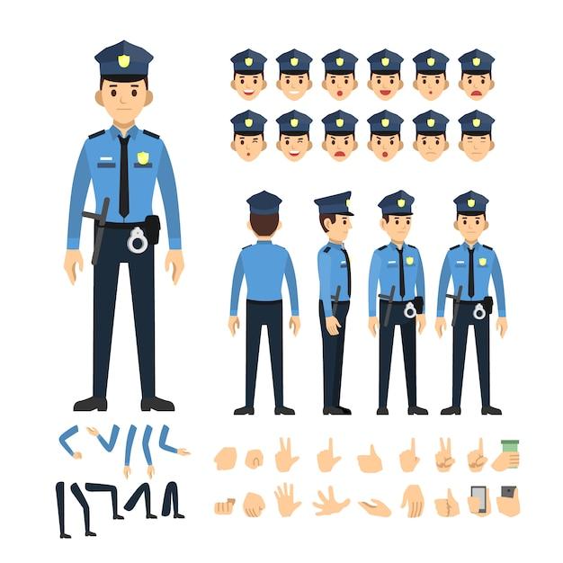 Jeu de caractères police homme Vecteur Premium