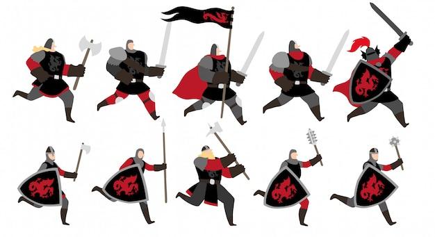 Jeu de caractères red dragon warriors Vecteur Premium