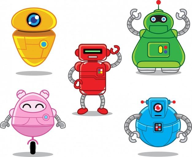 Jeu De Caractères De Robot Plat Vecteur Premium