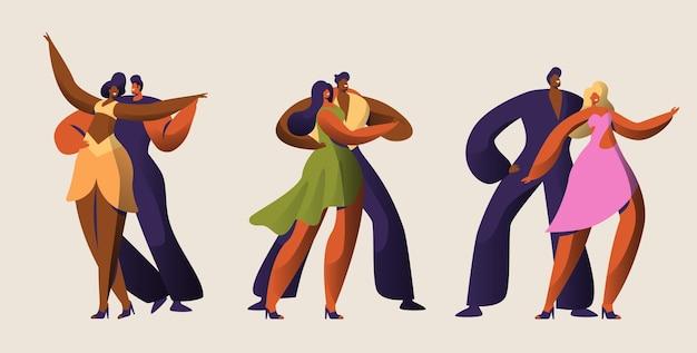 Jeu De Caractères Salsa Party Dancer Couple. Vecteur Premium