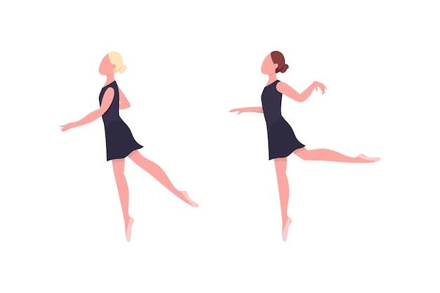 Jeu De Caracteres Sans Visage De Couleur Plate De Ballerine Le Danseur Repete Cours De Gymnastique