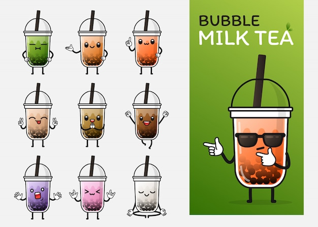 Jeu de caractères de thé au lait aux bulles mignon pour illustration ou mascotte Vecteur Premium