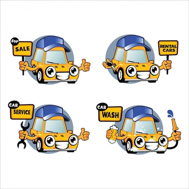 Jeu de caractères de voiture, voitures de location, service de lavage de voiture Vecteur Premium