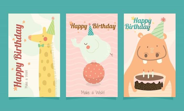 Jeu De Carte D'animaux Mignons Joyeux Anniversaire Pour Les Enfants. Vecteur Premium
