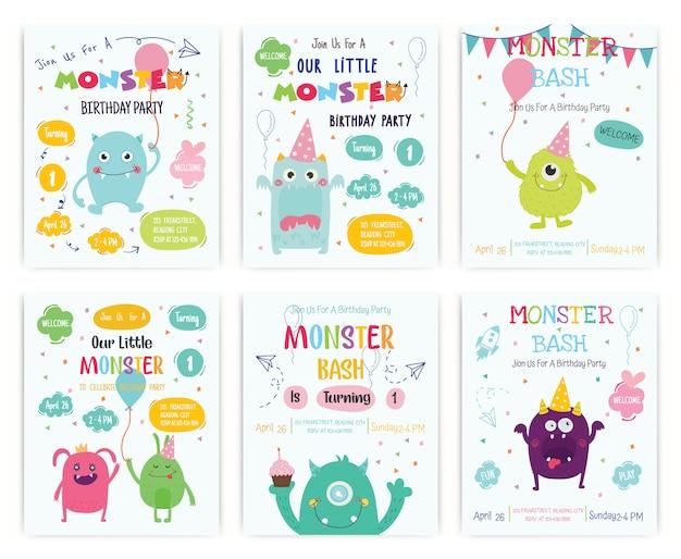 Jeu de carte d'invitation fête monstre mignon joyeux anniversaire Vecteur Premium