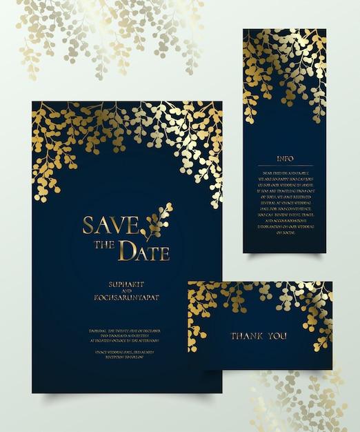 Jeu de carte d'invitation floral doré. Vecteur Premium