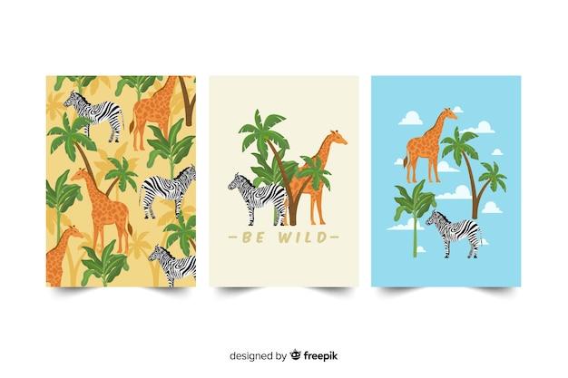 Jeu de cartes d'animaux sauvages Vecteur gratuit
