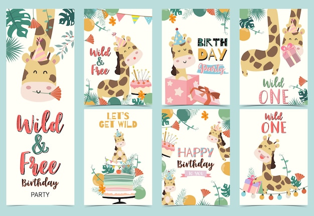 Jeu De Cartes D'anniversaire Avec Girafe Vecteur Premium