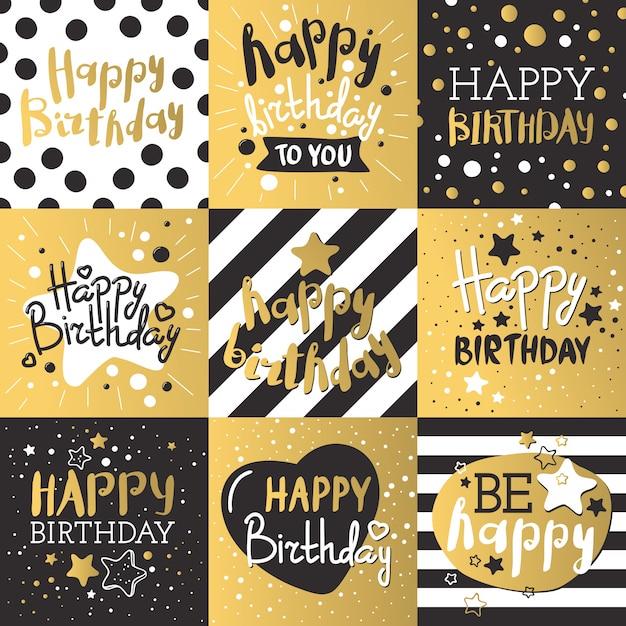 Jeu de cartes d'anniversaire de luxe décorées avec des ballons colorés, des étoiles, des points, des lignes Vecteur Premium