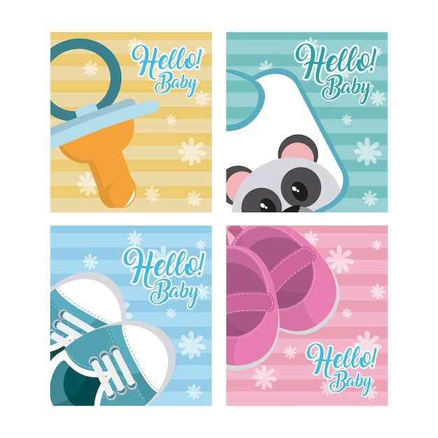 Jeu de cartes bébé bonjour Vecteur Premium