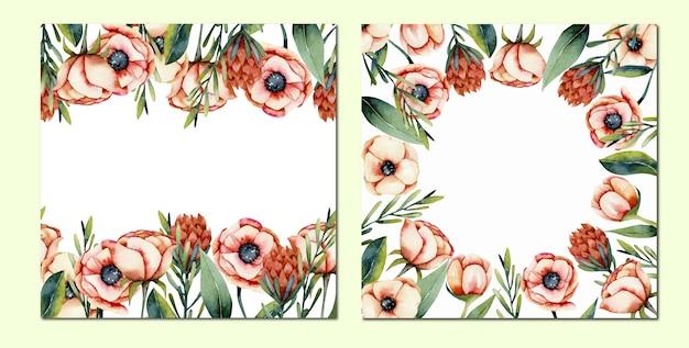 Jeu De Cartes De Bordures De Fleurs Aquarelle Anémone Corail Et Protea, Peint à La Main Sur Fond Blanc Vecteur Premium