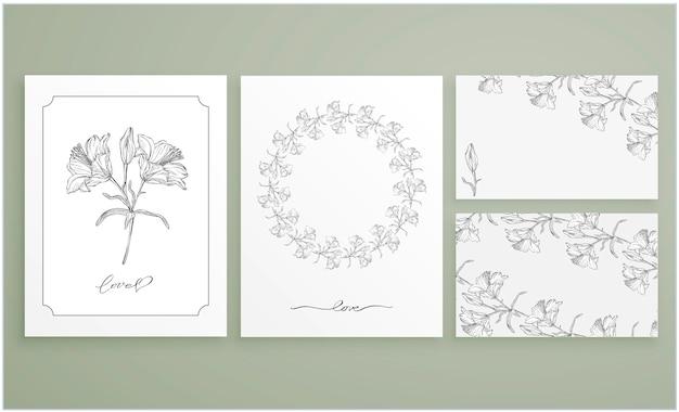 Jeu De Cartes Et Cartes De Visite Avec Des Arrangements Floraux Graphiques Vecteur Premium