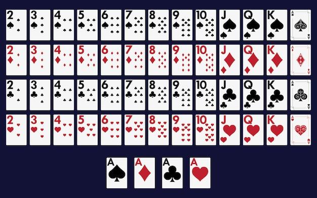 Jeu de cartes complet pour jouer au poker et au casino. Vecteur Premium