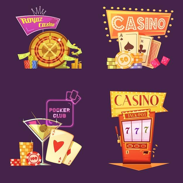 Jeu de cartes de dessin animé rétro royal casino Vecteur gratuit