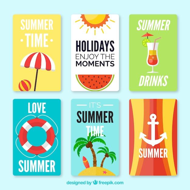 Jeu De Cartes D'été Avec Des Accessoires Vecteur gratuit
