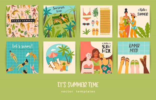 Jeu de cartes d'été avec des illustrations Vecteur Premium