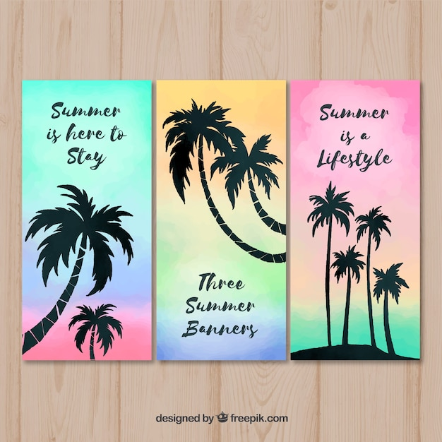 Jeu de cartes de l'été avec la silhouette des palmiers Vecteur gratuit
