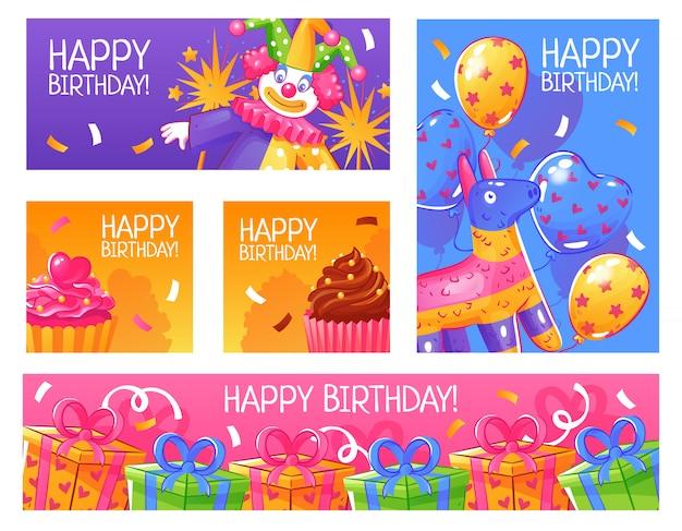 Jeu De Cartes De Fête D'anniversaire Vecteur gratuit