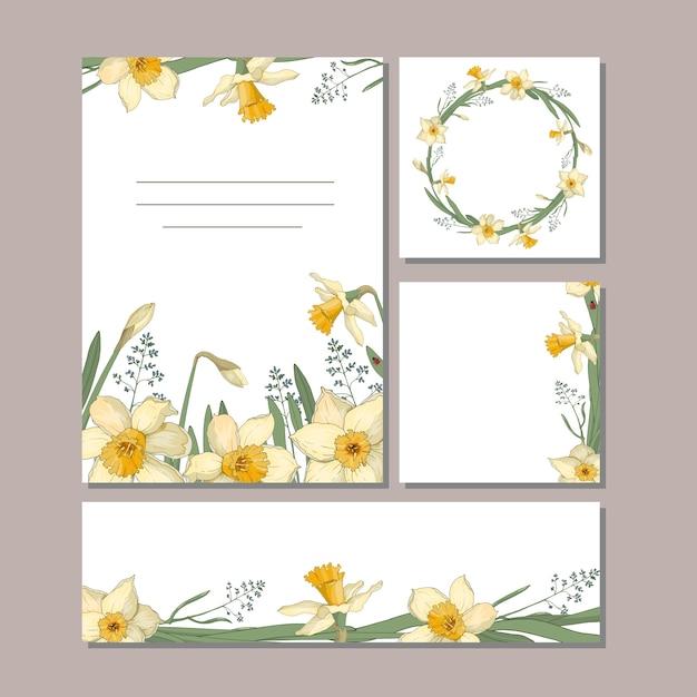 Un Jeu De Cartes Avec Des Fleurs. Jonquilles, Feuilles Et Brindilles Pour Votre Design D'été. Vecteur Premium