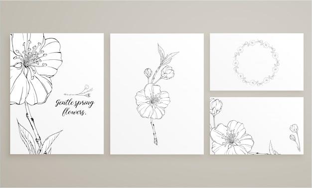 Jeu de cartes avec des fleurs de printemps délicates Vecteur Premium