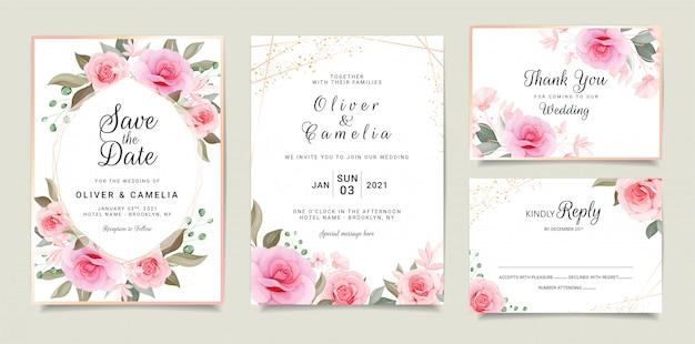 Jeu De Cartes Avec Floral. Modèle De Carte D'invitation De Mariage Serti De Cadre Floral Vecteur Premium
