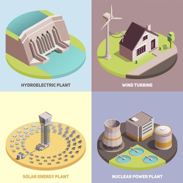 Jeu De Cartes Isométriques De Production D'énergie Verte Vecteur gratuit