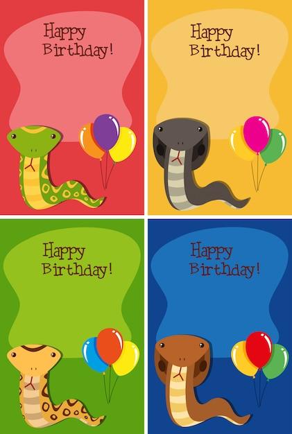 Jeu de cartes de joyeux anniversaire serpent Vecteur Premium