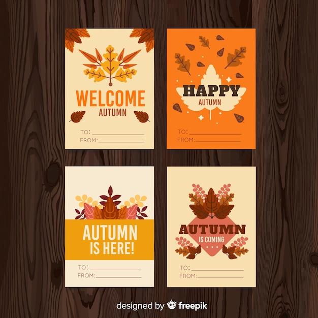 Jeu de cartes postales d'automne Vecteur gratuit