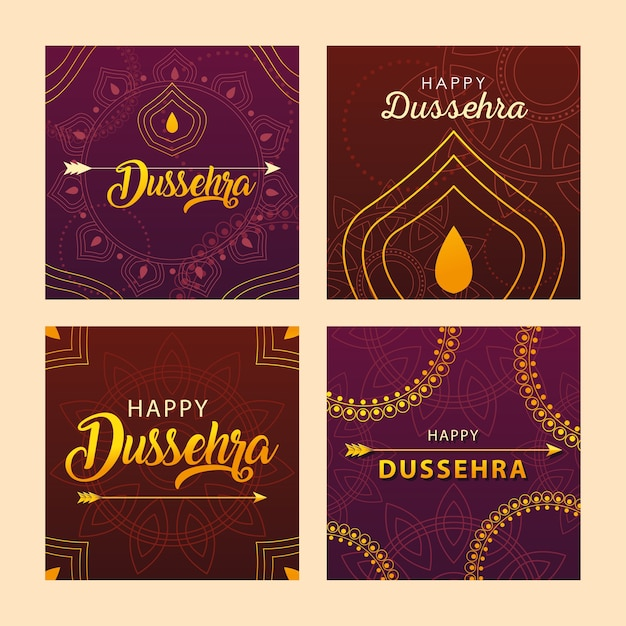 Jeu De Cartes Pour La Célébration Du Festival Indien Dussehra Vecteur Premium