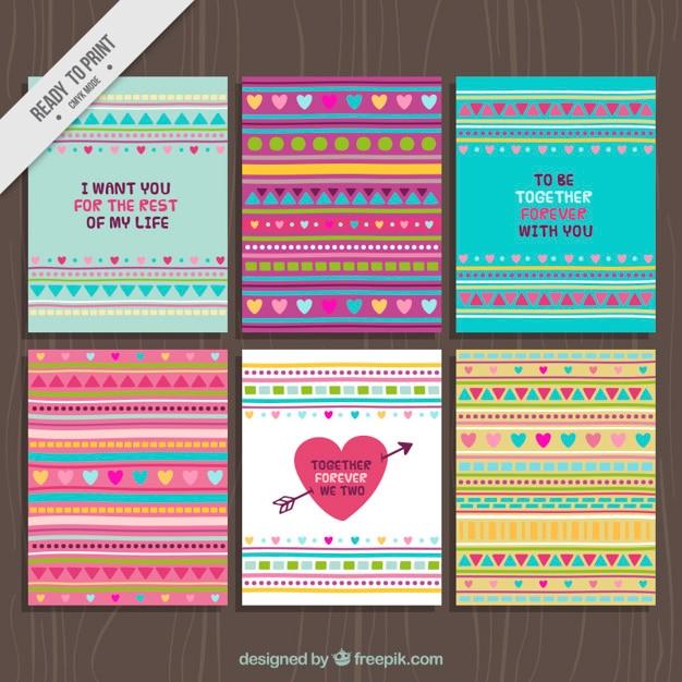 Jeu de cartes de valentine abstraites Vecteur gratuit