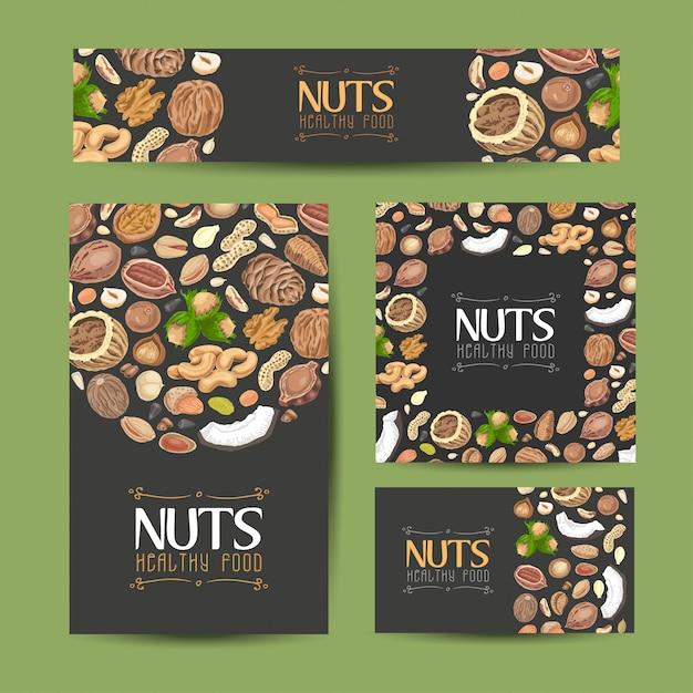 Jeu de cartes vectorielles avec noix et graines Vecteur Premium