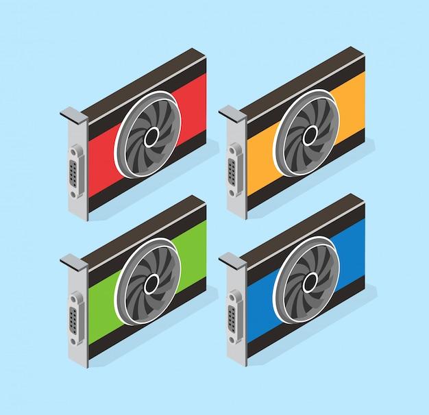 Jeu de cartes vidéo de bitcoin minier Vecteur Premium