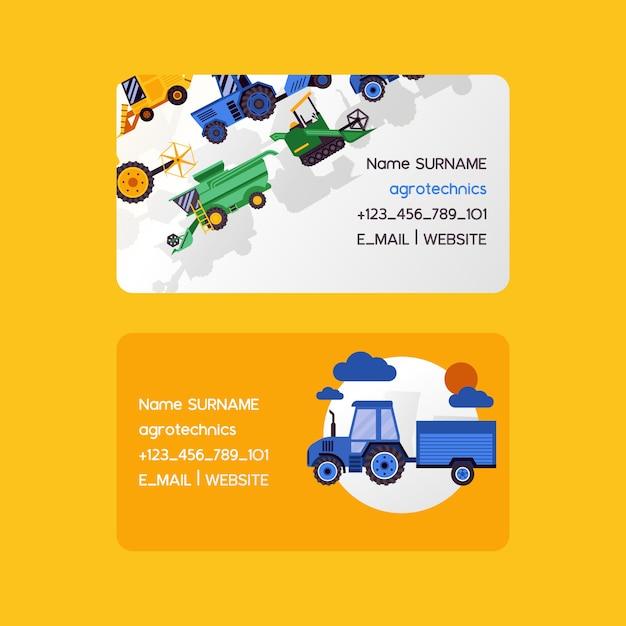 Jeu de cartes de visite agrotechniques. illustration vectorielle de machines de récolte. equipement pour l'agriculture. travailleurs de véhicules de ferme industriels Vecteur Premium