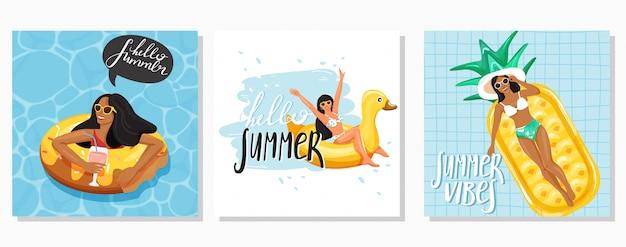 Jeu de cartes de voeux de l'été Vecteur Premium