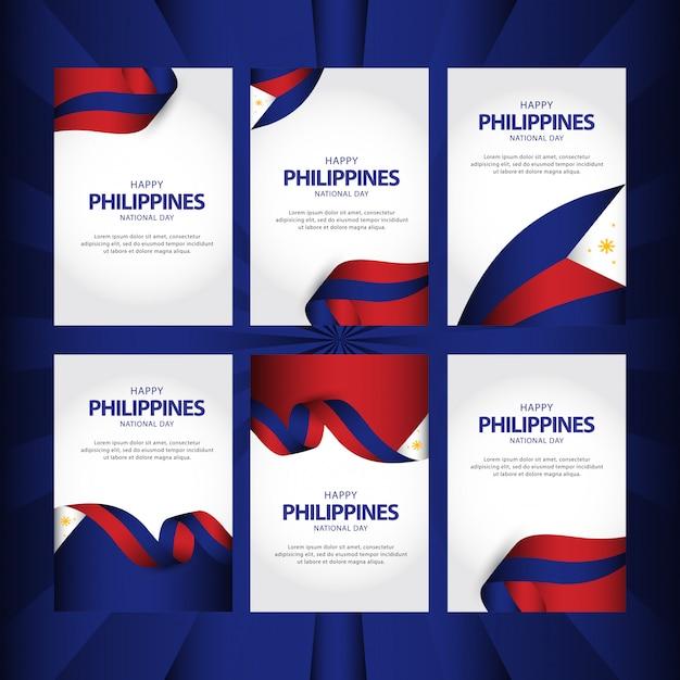 Jeu de cartes de voeux modèle fête de l'indépendance des philippines vecteur Vecteur Premium