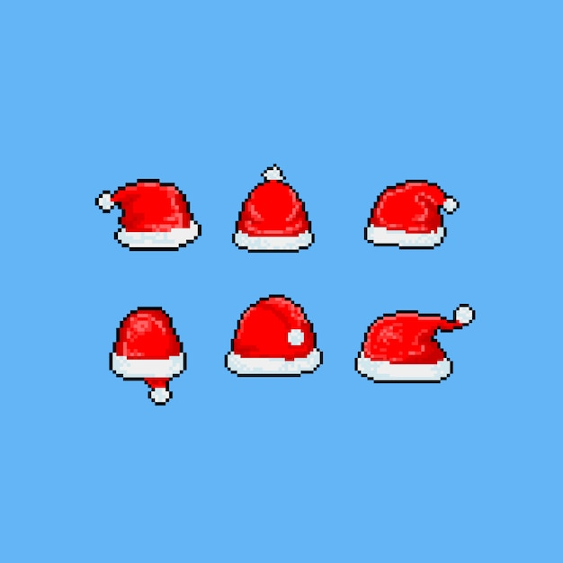 Jeu De Chapeau Du Père Noël Dessin Animé Art Pixel