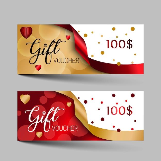 Jeu de chèques cadeaux de luxe saint valentin. Vecteur Premium